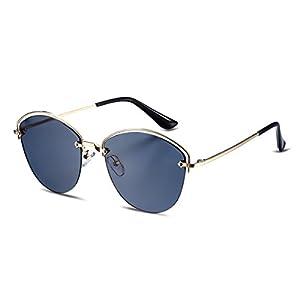Semi Rimless Polarized Sunglasses Women Copper Frame Oval Shape Mirrored Lens (Black, 55)