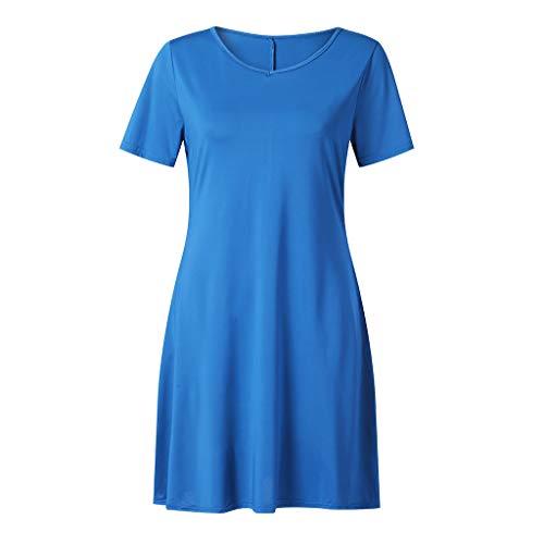 (Swing Dress for Women, ✔ Hypothesis_X ☎ Short Sleeve Pocket Dress Solid Pencil Dress Summer Sundress)