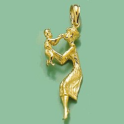 14k Yellow Gold Novelty Charm Pendant, 3D Mother with Child by Million Charms