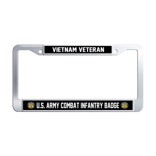 Framespolish US Army Combat Infantry Badge Vietnam Veteran Car License Plate Frame Holder Stainless Steel Car Tag Holder