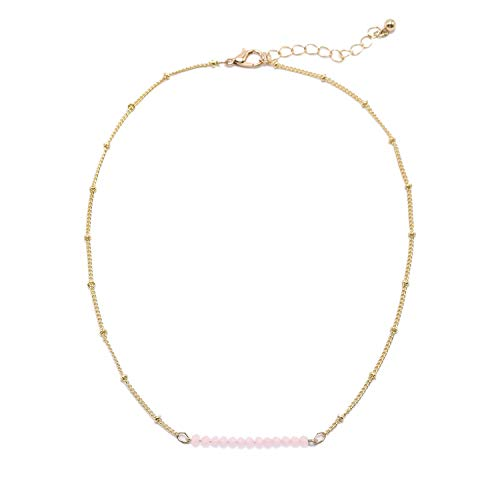 So Pretty Simple Bead Choker Necklace for Women Dainty Beaded Chain Gold Layering Necklace