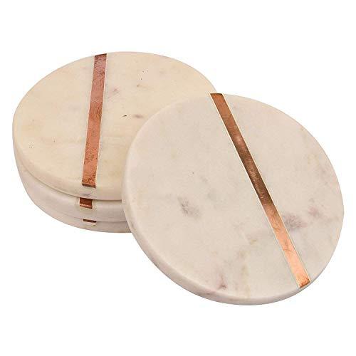 GAURI KOHLI Beautiful White Marble Coasters; Embellished With Rose Gold Inlay & Cork Backing (Large Size   Set of 4) ()