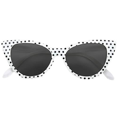 OWL Cat Eye Sunglasses White Black Polka Dot Smoke Lens -