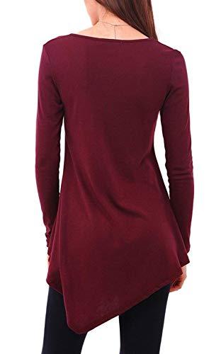 Elasticit Tops Lunga Primaverile Manica Elegante Shirt Monocromo Rotondo Irregular Donna Moda Collo qqUr4Pz