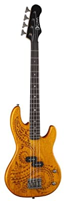 Luna TAT30 Tattoo Etched Mahogany Body Short Scale Electric Bass Guitar, Rosewood Fretboard, Matte