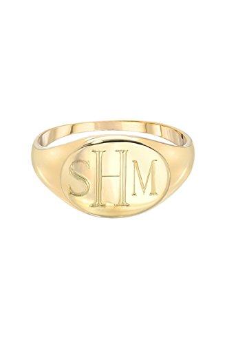 14k gold monogram signet ring ()