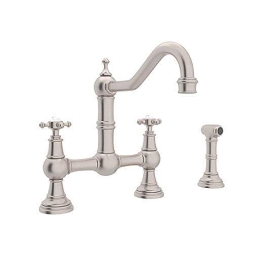 Rohl U.4755X-STN-2 Perrin and Rowe Provence Cross Handle Bridge Kitchen Faucet with Sidespray Rinse and 9-Inch Reach Country Spout, Satin -