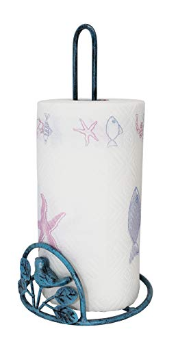 Cast Iron Bird & Tree Scroll Paper Towel Holder, Turquoise ()