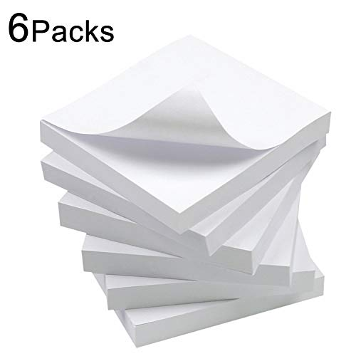 (White Sticky Notes, 6 Pads, 3 X 3 Inch, 100 Sheets/Pad, Self-Stick Notes Pads, Easy Post Notes for Office, School, Home (White))