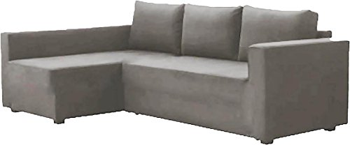 HomeTown Market The Cotton Manstad Cover Replacement is Custom Made for IKEA Manstad Sofa Bed with Chaise Sectional Cover, Or Corner Slipcover (Right ARM Longer, Light Gray)
