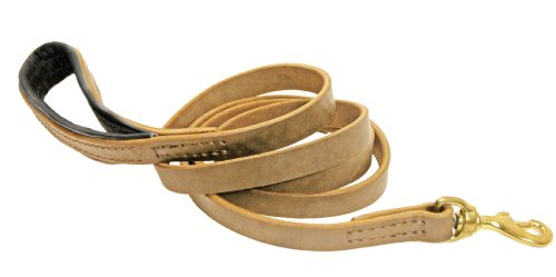 Dean & Tyler Soft Touch Dog Leash with Black Nappa Padded Handle and Solid Brass Hardware, 2-Feet by 3/4-Inch, Tan by Dean & Tyler