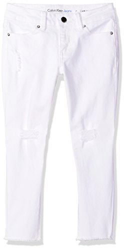 Capris Kids Denim - Calvin Klein Big Girls' Fashion Denim Jeans, Frayed Whiteout, 12