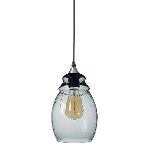 Casamotion Pendant Light Handblown Glass Drop Hanging Light, Glass Bell Pendant, Light Grey Blue Glass Shade, Brushed Nickel Finish, ()