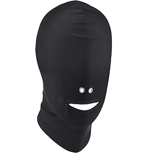 ZILucky Halloween Breathable Unisex Blindfold Face Cover Spandex Tight Open Eye Mouth Full Hood Mask Cosplay Costumes (Zipper Mouth with Two Holes for -