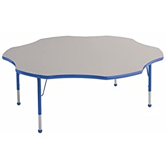 ECR4kids 60u0026quot; Kids Preschool Daycare Playroom Flower Shaped Adjustable Play  Activity Table