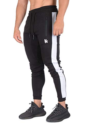 YoungLA Skinny Mens Joggers | Tapered Gym Pants | Slim Fit Track Sweatpants | Side Stripes and Pockets 211 Bk M Black