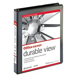 (Office Depot Nonstick Round-Ring View Binder, 1in. Rings, 100% Recycled, Black, OD02978)