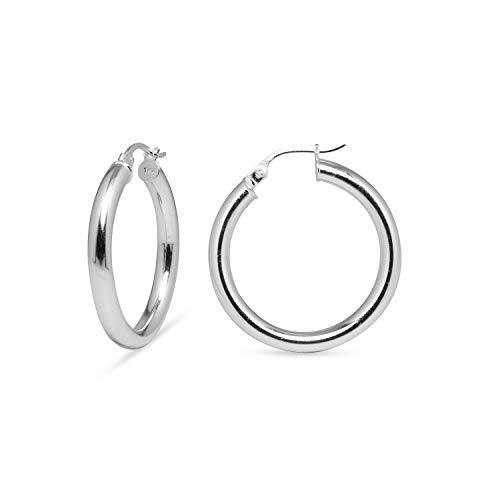 SEA OF ICE Sterling Silver Polished Finish 3mm Round-Tube Hoop Earrings for Women (25mm - 1
