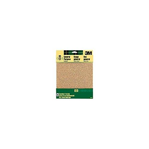 3M 9003NA 4-Pack 9 x 11-Inch 60-Grit Aluminum Oxide Sandpaper - Quantity 10