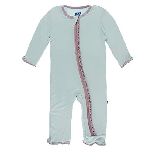 Coverall Solid Girl - Kickee Pants Little Girls Solid Muffin Ruffle Coverall with Zipper - Spring Sky with Sweet Pea, 9-12 Months