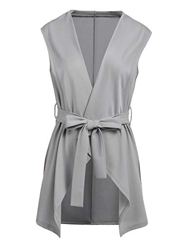 (Grabsa Women's Casual Lapel Open Front Sleeveless Vest Cardigan Jacket with Belt Grey )