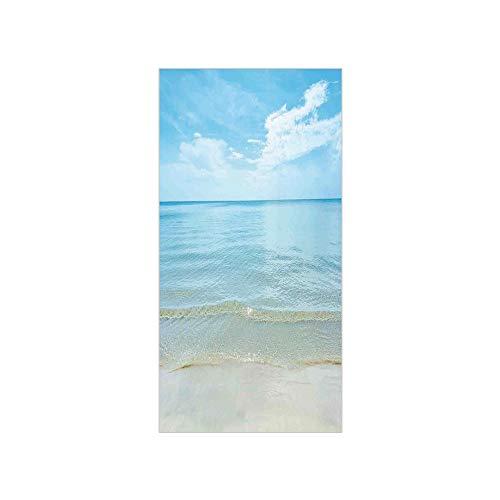 3D Decorative Film Privacy Window Film No Glue,Ocean,Sunny Summer Day at The Sandy Beach Tranquil Calm Shore Sea Horizon Image Artprint Decorative,Blue Cream,for Home&Office