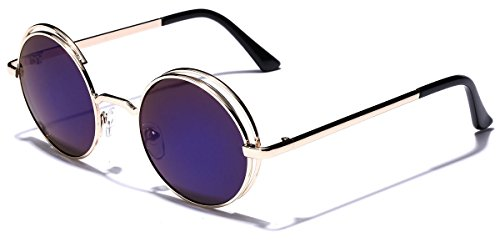 Double Circle Frame Flat Lens Fashion Sunglasses Color Mirror - Rim Circle Sunglasses