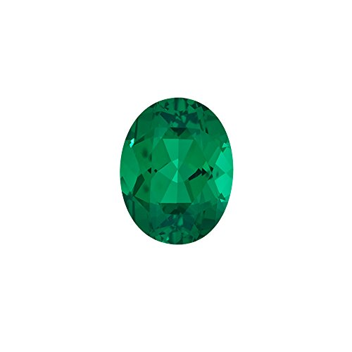 Mysticdrop 4.85-6.58 Cts of 14x10 mm AAA Oval Russian Lab Created Emerald (1 pc) Loose Gemstone