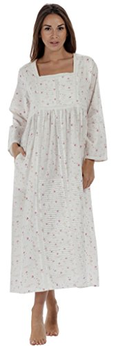 (The 1 for U Nightgown 100% Cotton Womens Long Nightie with Pockets - Esther (Vintage Rose, XL))