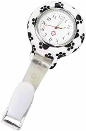 NICERIO Clip-On Watch, Nurse Lapel Pin Watch Unisex Hanging Medical Pocket Watch Pin-on Lapel Watch Nurse Quartz Watch