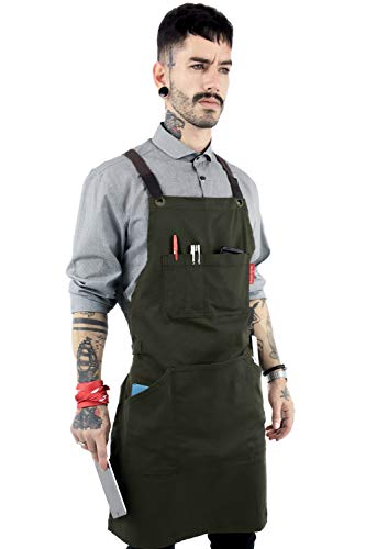 Under NY Sky Essential Army Green Apron - Cross-Back with Durable Twill and Leather Reinforcement - Adjustable for Men and Women - Pro Chef, Tattoo Artist, Baker, Barista, Bartender, Server Aprons