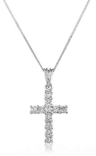 0.50CT Certified G/VS2 Round Brilliant Cut Claw Set Diamond Cross Pendant in 18K White Gold