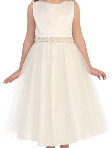 Little Girls Sleeveless Silk Shantung Pearl Flowers Girls Dresses Ivory 4 (M3B1K4)