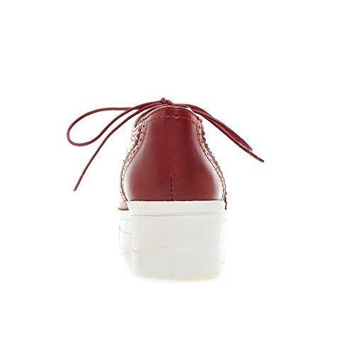 VogueZone009 Damen Schnüren Rund Zehe PU Leder Mittler Absatz Rein Pumps Schuhe Rot