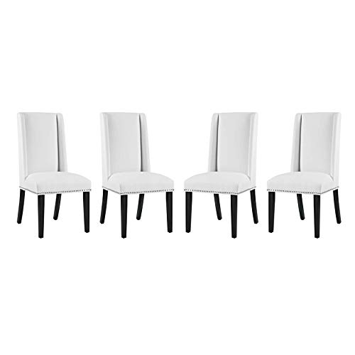 Modway Baron Dining Chair Vinyl Set of 4, Four, White