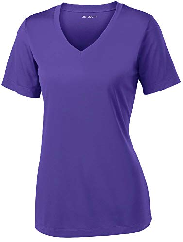 Women's Athletic All Sport V-Neck Tee Shirt in 12 Colors,Large,Purple ()
