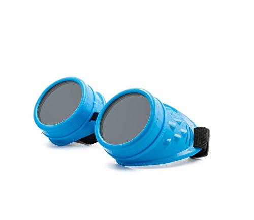 WELDING CYBER GOGGLES Schutzbrille Schweißen Goth cosplay STEAMPUNK COSPLAY GOTH ANTIQUE VICTORIAN WITH SPIKES Includes FREE set Lense Shades UV400 Protection Morefaz(TM) (Blue)