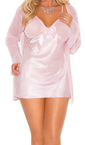 Super Sexy Satin Babydoll, Rhinestone-Like Heart Pin, Adj. Straps, G-String Set, Mesh Long Sleeve Coat Set, Baby Pink, 3X
