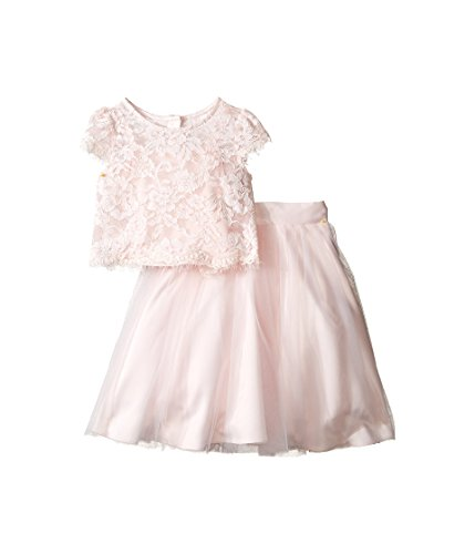 US Angels Little Girls' 2pc Lace Top and Tulle Skirt, Blush, 5 by US Angels