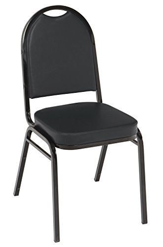 - KFI Seating IM520 Armless Stacking Chair, Commercial Grade, 2-Inch, Black Vinyl/Black Frame
