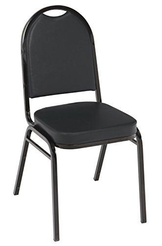 KFI Seating IM520 Armless Stacking Chair, Commercial Grade, 2-Inch, Black Vinyl/Black Frame