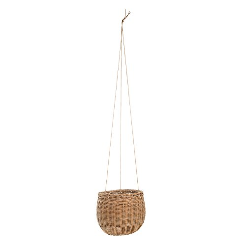 Bloomingville Hanging Rattan Basket with Faux Leather (Faux Rattan)
