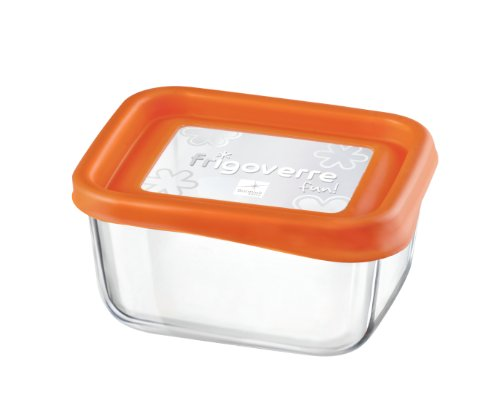 Bormioli Rocco Frigoverre Rectangle Glass Food-Storage Container with Lid, 13.50-Ounce, Orange