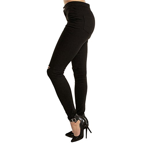 Mujer Pantalones Vaqueros Rotos - Vaqueros Pitillo - Jeans adecuado Primavera Otoño Negro