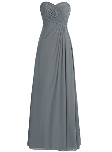 Maggie Sottero Prom - H.S.D Ladies Loose Pleated Full Length Party Dress Steel Grey