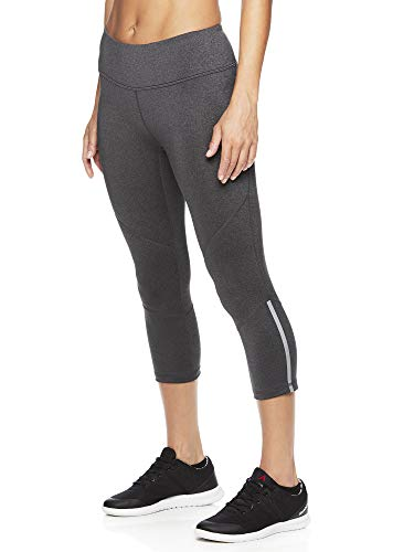 Reebok Women's Printed Capri Leggings with Mid-Rise Waist Performance Compression Tights - Charcoal Hero Heather, Large ()