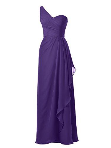 Long Party Prom Recency Alicepub Bridesmaid Strap One Chiffon Gown Evening Dress Maxi qw0UXw8H