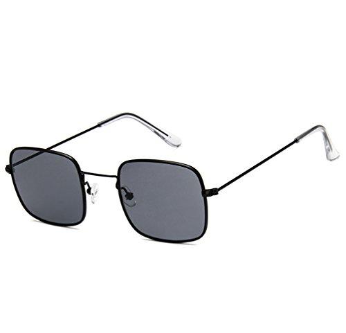 Moda De Gafas Sol Ketamyy Marco Sol De Metal Cuadradas Gafas Gris Marinas Películas Negro De Retro Marco Unisexo De Transparente 6xxqRwav