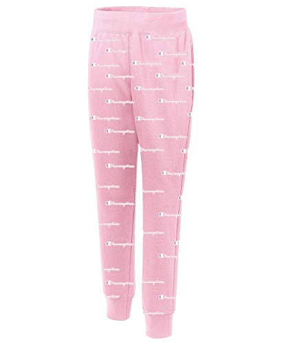 Champion LIFE Women's Printed Reverse Weave Jogger Pants, Champion Script Pink Candy/White, L