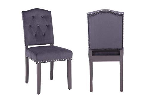 PS Global - Juego de 2 sillas de Comedor con Respaldo de boton, con Tachuelas cromadas, de Terciopelo, para Cocina, Comedor, hogar, Patas pintadas en saten Gris, facil de Montar (Gris Oscuro)